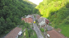 Aerial vilage in the valley Stock Footage