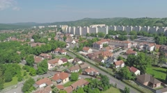 Aerial block of flats and the castle - stock footage