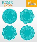 Set of 4 decorative plates for interior design - turquoise floral - stock illustration