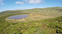 Aerial video footage of the lake branca,volcano in azores, Fayal, Portugal - stock footage
