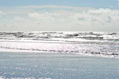Balitc sea with large waves in heavy sunlight Stock Photos