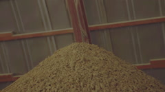 Soybean oilcake poured in a heap on the processing plant soybeans Stock Footage