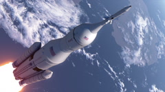 Space Launch System Takes Off In Stratosphere Stock Footage