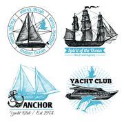 Stock Illustration of Marine Labels Set