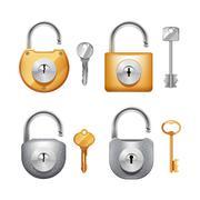 Padlocks And Keys Realistic Set Stock Illustration