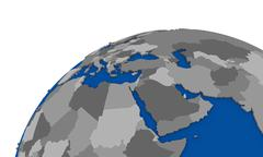 Stock Illustration of middle east region on Earth political map