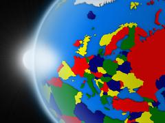 Sunset over European continent from space - stock illustration