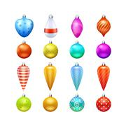 Christmas Toys Icons Set - stock illustration