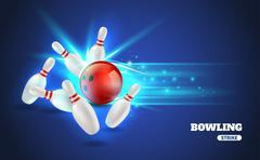 Bowling Strike Illustration - stock illustration