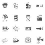 Movie Icons Black Set Stock Illustration
