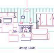 Living Room Line Design - stock illustration