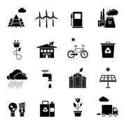 Ecology Icons Set Stock Illustration