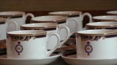 Slow motion Porcelain Teacups Stock Footage