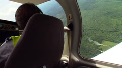 View of a plane taking a right turn from a passenger window. Stock Footage