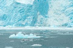 Aialik Glacier Ice Flow Pacific Ocean Alaska Coast - stock photo