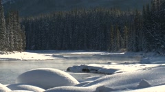Steam rising from Bow River, Alberta. Stock Footage