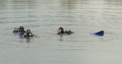 Three Men Divers Are Standing Swimming in The Water Talking Diver in Blue Stock Footage