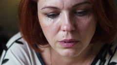 Woman crying one lonely tear sad Stock Footage