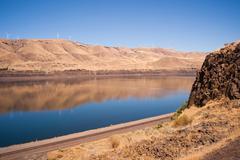 Dry Calm Clear Summer Day Columbia River Gorge Oregon Washington - stock photo