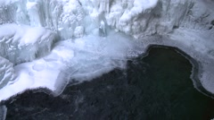 Base of a frozen waterfall in Johnston Canyon, Alberta. Stock Footage