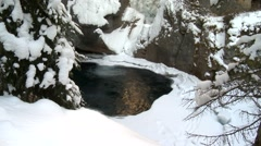 Base of a frozen waterfall in Johnston Canyon. (Zoom) Stock Footage
