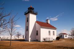 Sand Point Lighthouse Escanaba Michigan Little Bay De Noc - stock photo