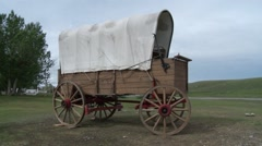 Abandoned horse wagon in Albertan countryside. Stock Footage