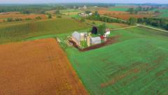 Scenic Rural Midwest Heartland Flyover, Landscape With Farms, Barns, Silos Stock Footage