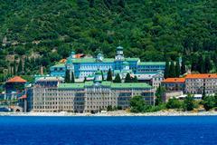 Saint Panteleimon Monastery,  Mount Athos - stock photo