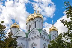 Golden domes of Catherine cathedral against blue sky. Tsarskoye Selo (Pushkin - stock photo