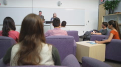 A student enthusiastically gives a speech in class Stock Footage
