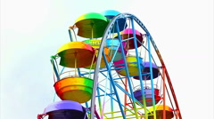 Ferris Wheel of bright color on a white background Stock Footage