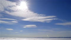 Clouds quickly moving through the skies over the sea ice in the Arctic. - stock footage