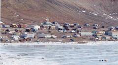 Arctic Bay, Nunavut. (Pan) Stock Footage