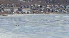 Landscape of Arctic Bay in Nunavut. (Tilt Up) Stock Footage