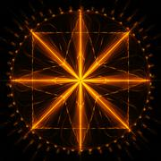 Cabalistic sign of eight-pointed star with circle and square. Stock Illustration