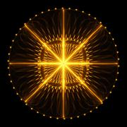 Cabalistic pattern in the form of circle with rays radiating from the center. - stock illustration