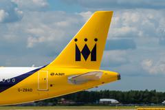 Monarch Airlines Airbus A321 tail - stock photo
