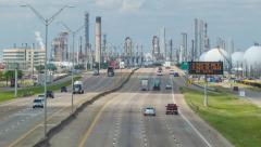 Highway into Deer Park Industrial Area of Houston Texas - stock footage