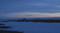 Arctic tundra and frozen sea. (Pan) Stock Footage