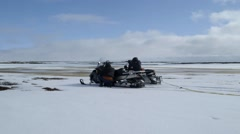 Pair of arctic expeditioners shooting at a flock of birds. Stock Footage