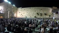Midnight Jewish believers recite Slihot, penitential prayers Stock Footage