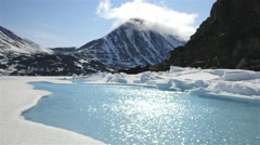 Small pond of ice water beneath an Arctic mountain range. Stock Footage