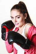 Fit woman boxing Stock Photos
