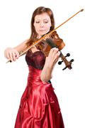 young woman plays the viola - stock photo