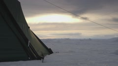 Tent pitched in an Arctic ice field. Stock Footage