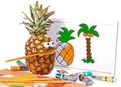 Pineapple - artistic painter Stock Photos
