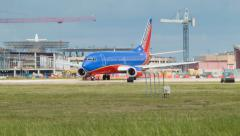 Southwest Boeing 737 at Houston Hobby Airport - stock footage