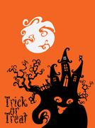 Spooky House Trick Or Treat card design - stock illustration