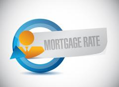 mortgage rate avatar cycle sign concept - stock illustration